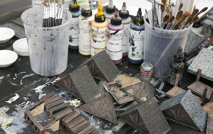 Assortment of paints and rooftops