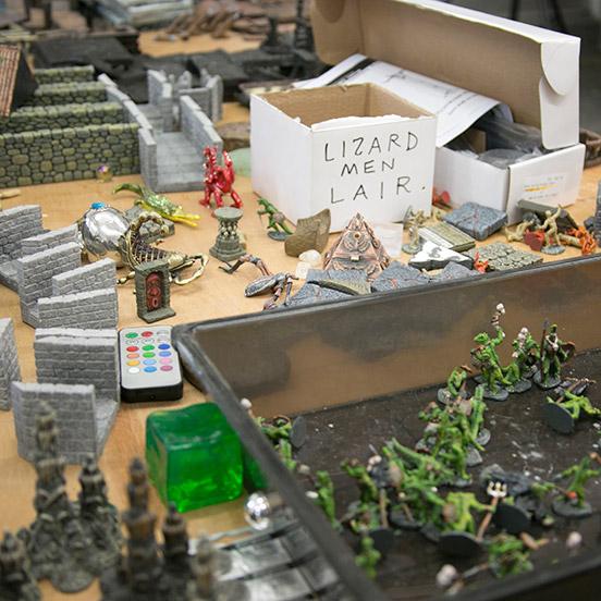 Dwarven Forge terrain tiles and Lizardmen lair