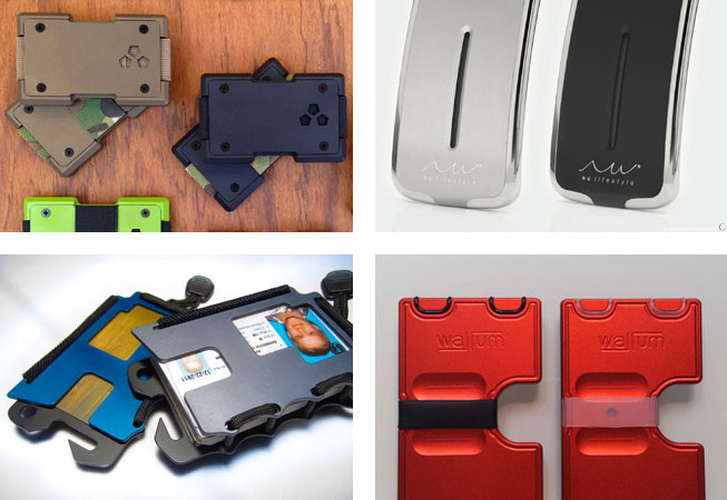 Wallets made of CNC-machined aluminum, or carbon fiber.